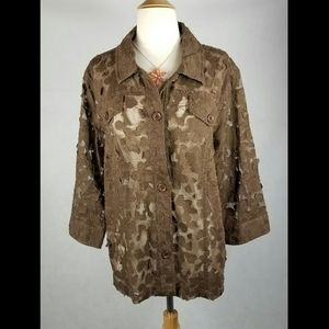 Westbound Chocolate Lace Button Up Top 1X